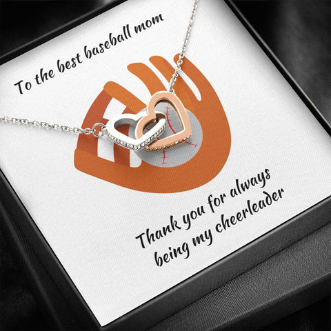 Mom Necklace - Necklace for Mom - Gift Necklace with Message Card To Baseball Mom Interlocking Hearts Necklace