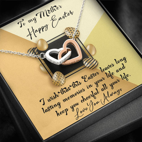 Easter Gift to Mom | Necklace to Mom for Easter | Interlocking Hearts Necklace | Gift Necklace with Message Card