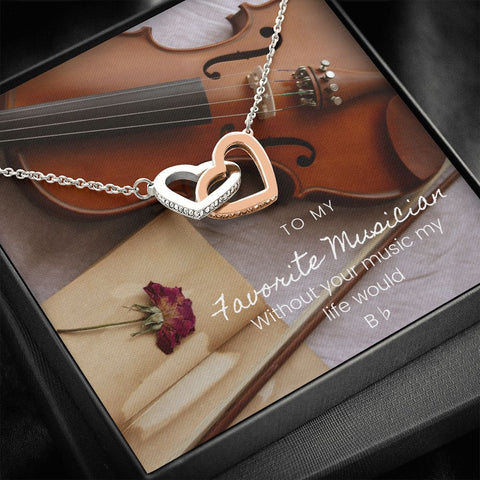 Musician Violin Interlocking Hearts Necklace