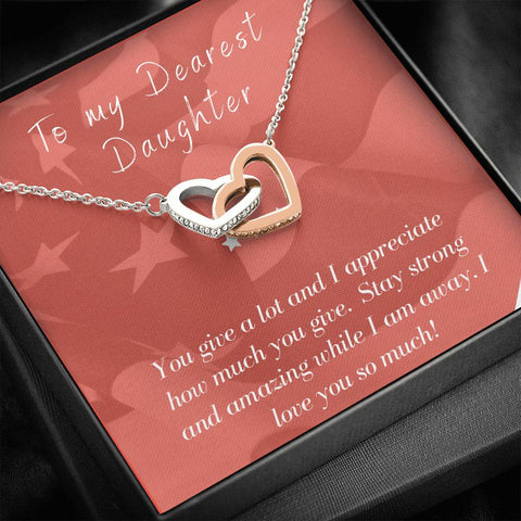 To Daughter Deployment Patriotic Interlocking Hearts Necklace