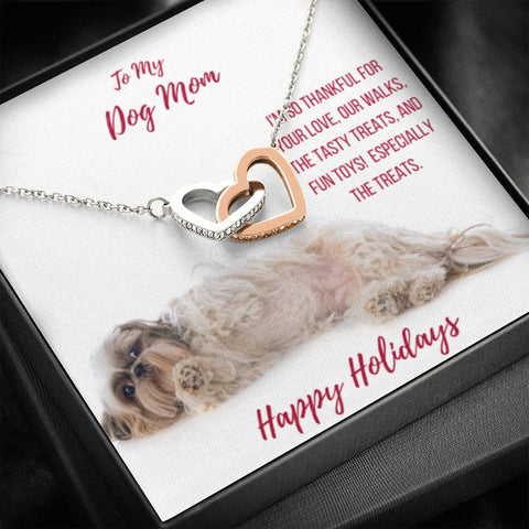 Gift Necklace with Message Card Happy Holidays - Shih Tzu Dog Mom Interlocking Hearts Necklace