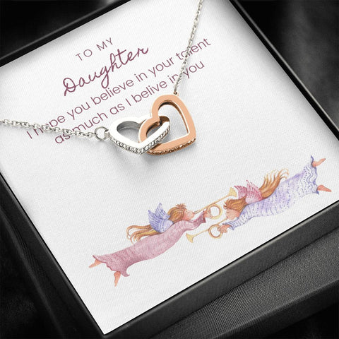 Gift Necklace with Message Card To Daughter Musician Trumpets Interlocking Hearts Necklace
