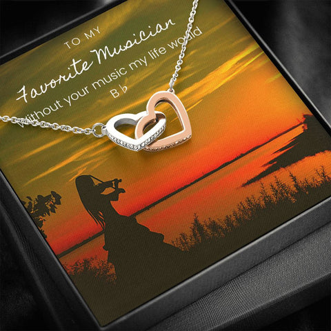 Musician Violin Silhouette Interlocking Hearts Necklace