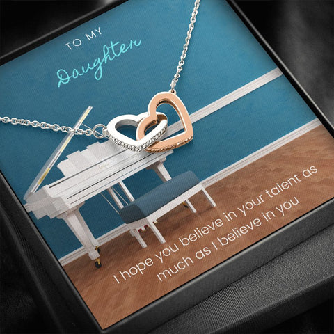 Daughter Necklace - Gift to Daughter - Gift Necklace with Message Card To Daughter Musician Piano Interlocking Hearts Necklace