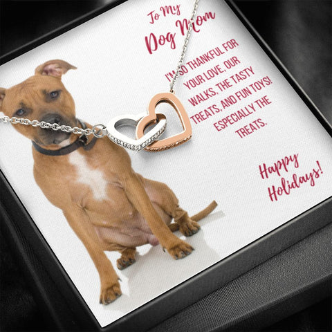 Gift Necklace with Message Card  Happy Holidays - Pit Bull Dog Mom Interlocking Hearts Necklace