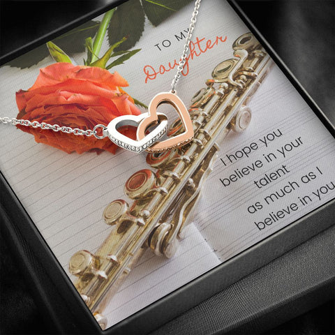 Daughter Necklace - Gift to Daughter - Gift Necklace with Message Card To Daughter Musician Flute Interlocking Hearts Necklace