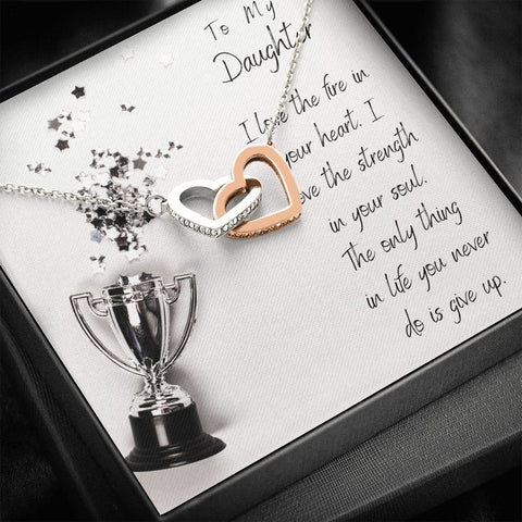 Daughter Necklace - Gift to Daughter - To My Athlete Daughter Interlocking Hearts Necklace