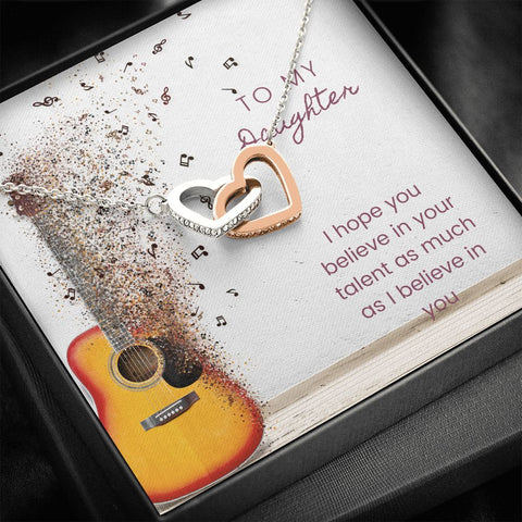 Daughter Necklace - Gift to Daughter - Gift Necklace with Message Card To Daughter Musician Guitar Interlocking Hearts Necklace