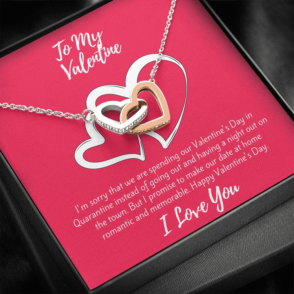 Valentine's Day Gift | Necklace for Valentine's Day | 2021 Quarantined Happy Valentine's Day Gift | Interlocking Hearts Necklace