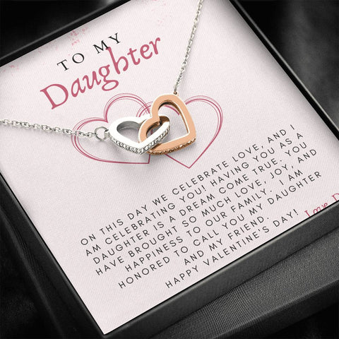 Daughter Necklace | Valentine's Day Gift for Daughter | Daughter Valentine's Gift from Dad | Daughter Heart Necklace with Message Card | Valentine's Gift to Daughter from Dad | Interlocking Hearts Necklace with Celebrate Love Message