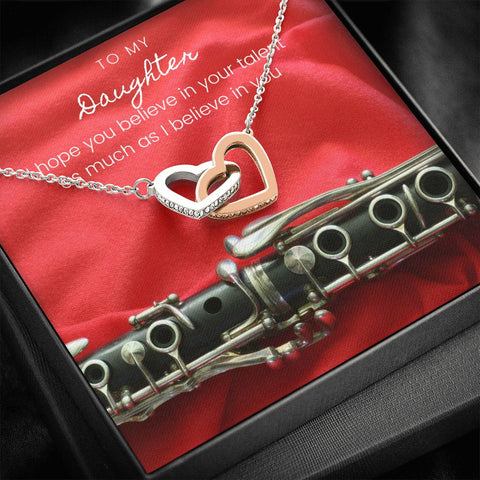 Daughter Necklace - Gift to Daughter - Gift Necklace with Message Card To Daughter Musician Clarinet Interlocking Hearts Necklace