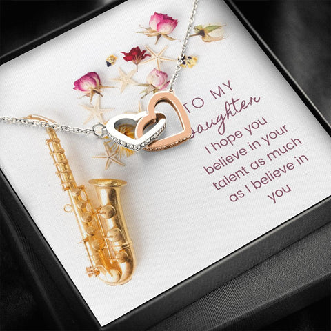 Daughter Necklace - Gift to Daughter - Gift Necklace with Message Card To Daughter Musician Saxophone Interlocking Hearts Necklace