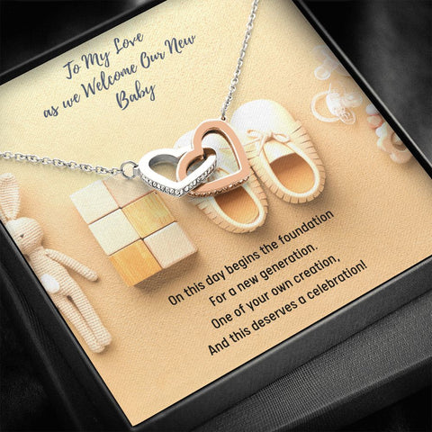 Gift Necklace with Message Card - To My Love - Mother from Newborn Gift from Baby's Father - Interlocking Hearts Necklace - Push Present Option 1