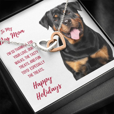 Gift Necklace with Message Card  Happy Holidays - Rottweiler Dog Mom Interlocking Hearts Necklace