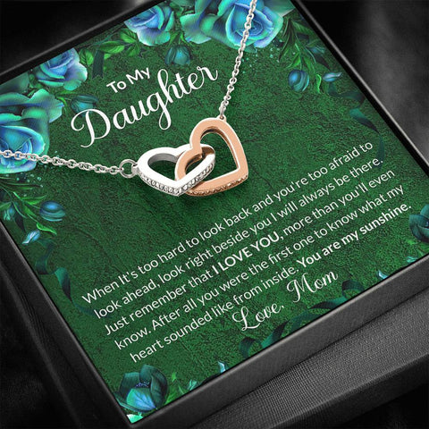 Daughter Necklace - Gift to Daughter - To My Daughter Green Interlocking Hearts Necklace