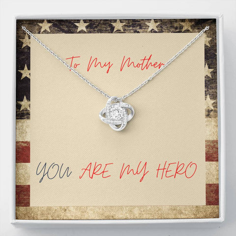 Mom Necklace - Necklace for Mom - Gift Necklace with Message Card Mom Hero Patriotic - Stronger Together Knot Necklace