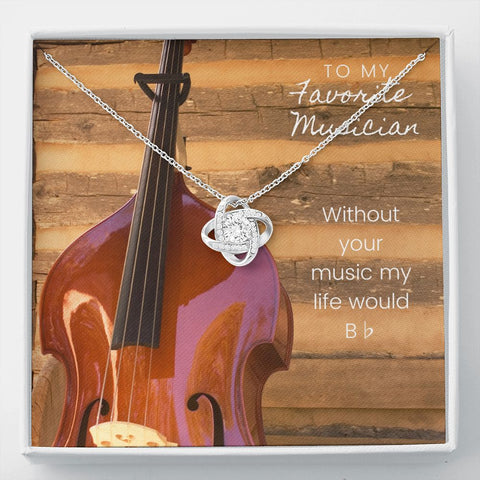 Musician Upright Bass Stronger Together Knot Necklace