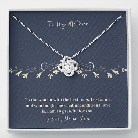 Gift to Mother from Son | Hug | Necklace Knot Necklace | Gift Necklace with Message Card