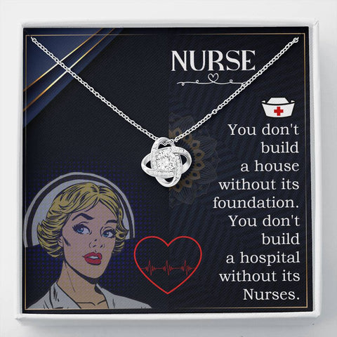 Gift Necklace with Message Card Nurse home and work Stronger Together Knot Necklace