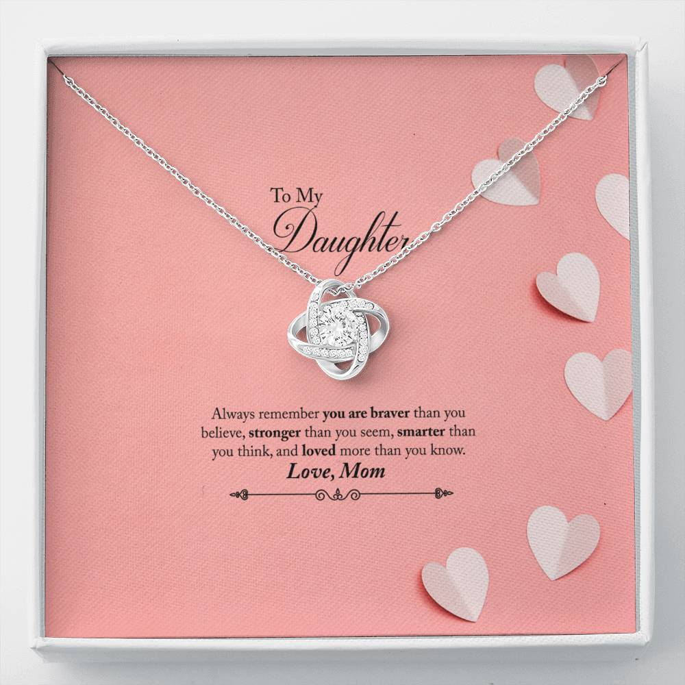 Daughter Necklace - Gift to Daughter - To Daughter from Mom hearts Stronger Together Knot Necklace