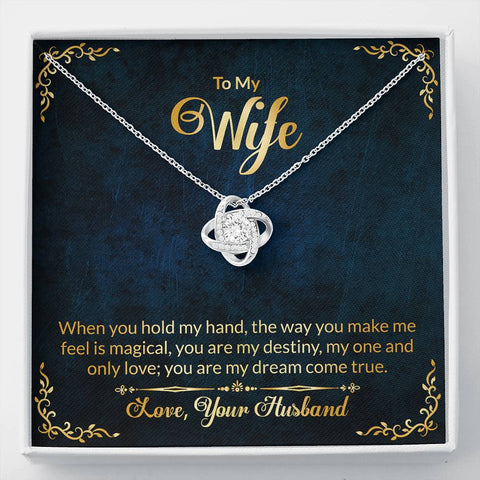 Wife Necklace - Necklace for Wife - To My Wife in Navy and Gold Stronger Together Knot Necklace