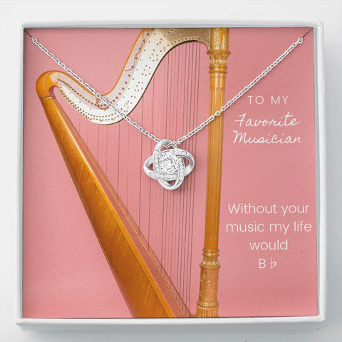 Musician Harp Stronger Together Knot Necklace