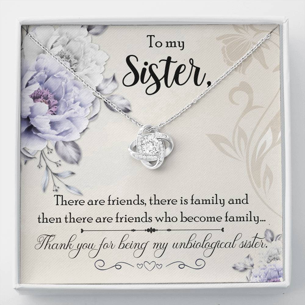 Sister Necklace - Gift to Sister - Gift Necklace with Message Card To My Unbiological Sister - Stronger Together Knot Necklace