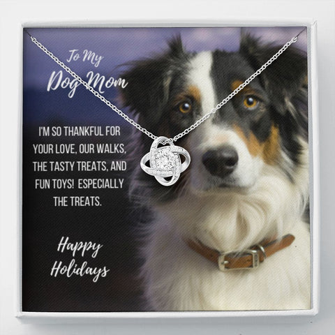 Gift Necklace with Message Card Happy Holidays - Australian Shepherd Dog Mom Stronger Together Knot Necklace
