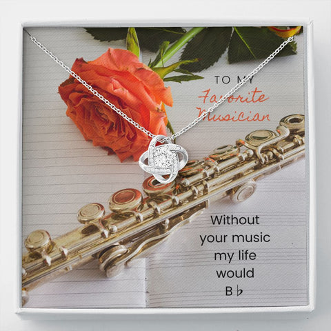 Musician Flute Stronger Together Knot Necklace