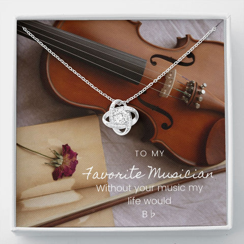 Musician Violin Stronger Together Knot Necklace