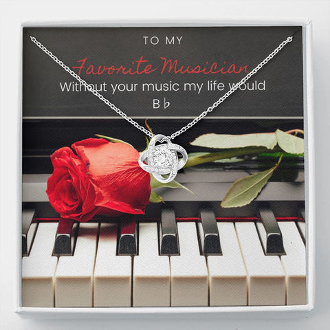 Musician Piano Stronger Together Knot Necklace