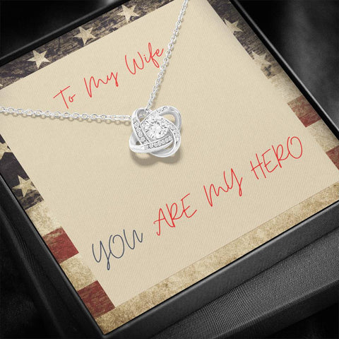 Gift Necklace with Message Card Wife Hero Patriotic Stronger Together Knot Necklace
