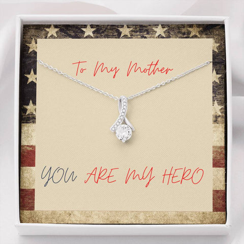 Mom Necklace - Necklace for Mom - Gift Necklace with Message Card Mom Hero Patriotic (1) The Inner Beauty Necklace