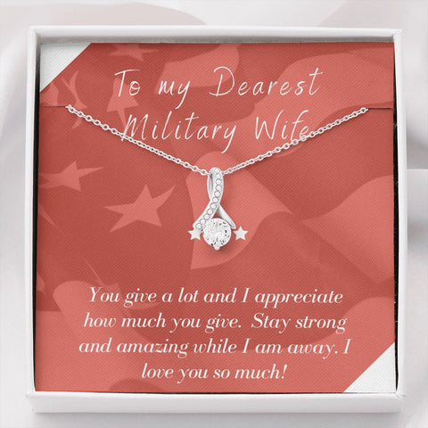 Gift Necklace with Message Card Wife Deployment Patriotic The Inner Beauty Necklace