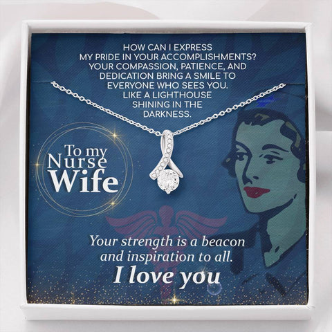 Wife Necklace - Necklace for Wife - Gift Necklace with Message Card To My Nurse Wife - How Can I The Inner Beauty Necklace