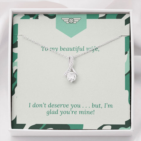 Gift Necklace with Message Card Wife Green  Patriotic The Inner Beauty Necklace