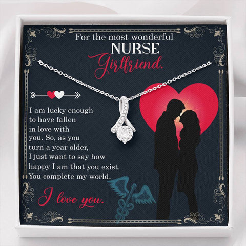 Girlfriend Necklace - Gift to Girlfriend - Gift Necklace with Message Card For the most wonderful nurse girlfriend The Inner Beauty Necklace