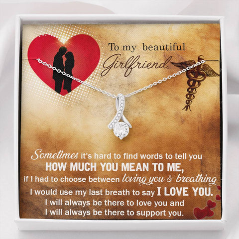Gift Necklace with Message Card To my Nurse Girlfriend - Sometimes The Inner Beauty Necklace
