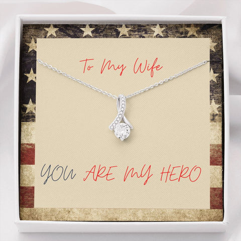Gift Necklace with Message Card Wife Hero Patriotic The Inner Beauty Necklace