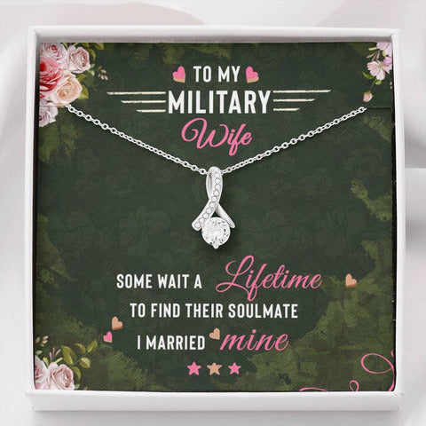 Wife Necklace - Necklace for Wife - Gift Necklace with Message Card To my Military Wife The Inner Beauty Necklace