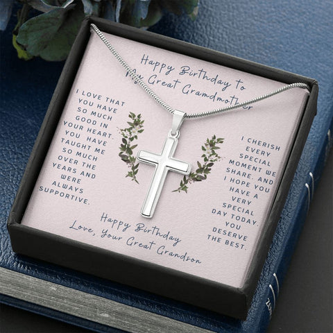 Cross Necklace Gift To Great Grandmother from Grandson | Hug |  Faithful Cross Necklace | Gift Necklace with Message Card