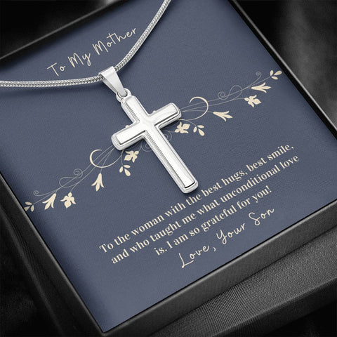 Cross Necklace Gift To Mother from Son | Hug | Faithful Cross Necklace | Gift Necklace with Message Card