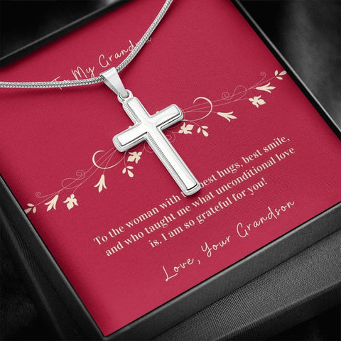Cross Necklace Gift To Grandmother from Grandson | Hug | Faithful Cross Necklace | Gift Necklace with Message Card