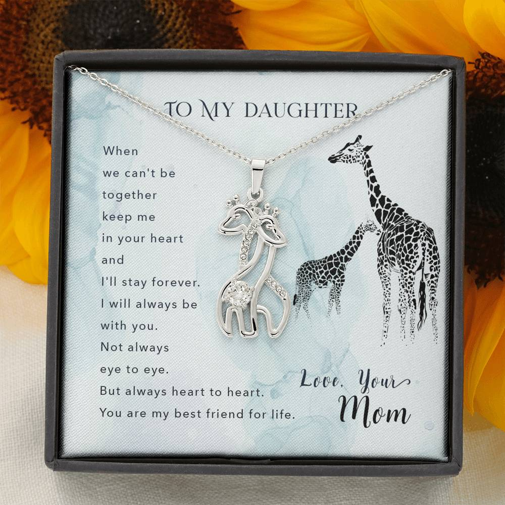 Daughter Necklace - Gift to Daughter - To my daughter-When we can_t be Mommy and Child Giraffe Necklace