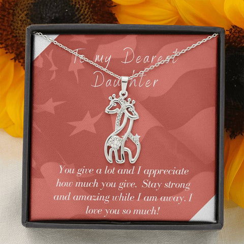 To Daughter Deployment Patriotic Mommy and Child Giraffe Necklace