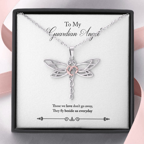 Gift Necklace with Message Card To My Guardian Angel Stunning Dragonfly Necklace