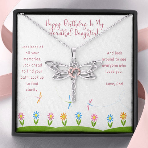 Birthday Gift for Daughter Daughter Necklace - Gift to Daughter - Gift Necklace with Message Card Birthday Gift to Daughter from Dad - Inspirational -Dragonfly Necklace