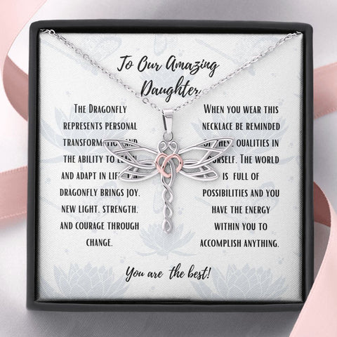 Daughter Necklace - Gift to Daughter - Dragonfly To Our Daughter from Us Stunning Dragonfly Necklace