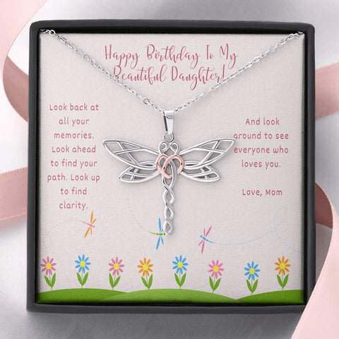 Birthday Gift for Daughter Daughter Necklace - Gift to Daughter - Gift Necklace with Message Card Birthday Gift to Daughter from Mom- Inspirational -Dragonfly Necklace