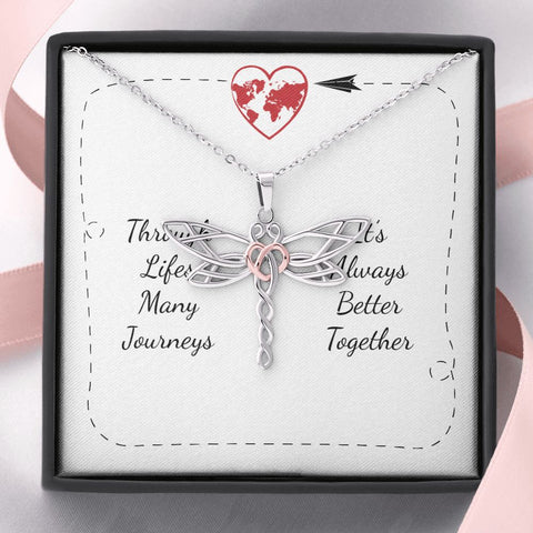 Gift Necklace with Message Card Life's Many Journeys Stunning Dragonfly Necklace